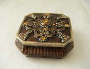 Anti Brass Amber Enamel Jewellery Trinket Box With Crystal Accents