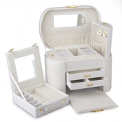 Rowling White PU Jewellry Gift box Earring Ring Necklace Storage Case ZG-152
