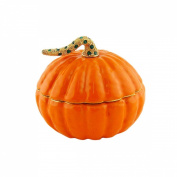 Pumpkin Trinket Box, Bejewelled Stem, Orange