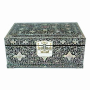 Mother of Pearl Arabesque Design Asian Lacquered Wooden Lock and Key Jewellery Trinket Keepsake Treasure Gift Box Case Chest Organiser
