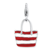 Sterling Silver Enamelled 3-d Stripe Tote Bag W/lobster Clasp Charm, Best Quality. Box Satisfaction Guaranteed