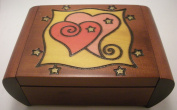 Secret Heart Linden Wood Polish Jewellery Keepsake Box Two Hearts Valentine's Day Present