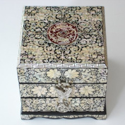 Mother of Pearl Inlay Decorative Arabesque and Butterfly Design Lacquer Wood Handcrafted Art Jewellery Trinket Keepsake Treasure Box Case Chest Organiser