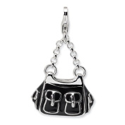 Sterling Silver 3-d Enamelled Black Handbag W/lobster Clasp Charm, Best Quality. Box Satisfaction Guaranteed