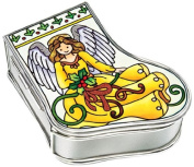 Amia Handpainted Glass Angel Stocking Jewellery Box, 8.3cm by 7cm by 3.2cm