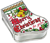 Amia Handpainted Glass Merry Christmas to You Stocking Jewellery Box, 8.3cm by 7cm by 3.2cm