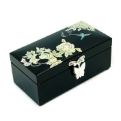 Mother of Pearl Indian Lilac Design Design Lacquered Black Small Wooden Asian Mirrored Jewellery Trinket Keepsake Treasure Box Ring Case Chest Organiser