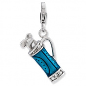 Sterling Silver Enamelled 3-d Golf Bag And Clubs W/lobster Clasp Charm, Best Quality. Box Satisfaction Guaranteed