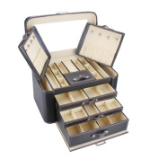 ROWLING Super Large Faux Leather Jewellery Box Case Watch Box Cosmetic Case /organiser WITH TRAVEL CASE AND LOCKZG149