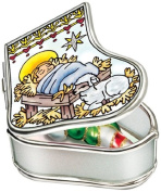 Baby Handpainted Glass Jesus Manger Amia Stocking Jewellery Box, 8.3cm by 7cm by 3.2cm