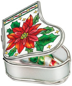 Amia Handpainted Glass Poinsettia Stocking Jewellery Box, 8.3cm by 7cm by 3.2cm
