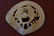 Dolphin Carved Golden Mother of Pearl Shell Plate Decor