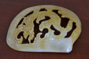Dragon Carved Golden Mother of Pearl Shell Plate Decor