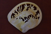 Fish Carved Golden Mother of Pearl Shell Plate Decor