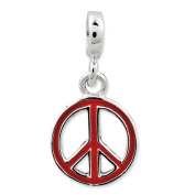 Sterling Silver Red Enamelled Peace Sign Enhancer, Best Quality. Box Satisfaction Guaranteed