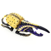 Yellow And Purple Horned Beetle Trinket Box With. Crystal