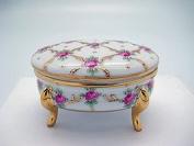 Vintage Victorian Desert Rose Oval Jewellery Box
