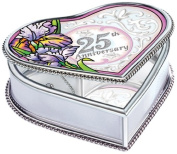 Amia Heart Shaped Handpainted Glass 25th Anniversary Jewellery Box, 10cm by 3.8cm by 9.5cm