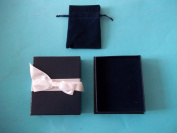 Emco Blue Jewellery Gift With White Ribbon and Bow Matching Blue Draw String Pouch Included Velvet Like Interior Lining