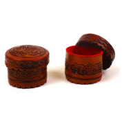 New Hand Tooled Leather Set of Two Ring Boxes Western