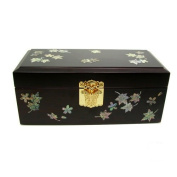 Silver J Wooden jewellery box with mirror, lacquer wood jewellery case, handmade mother of pearl gift, maple.