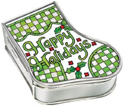 Amia Handpainted Glass Happy Holidays Stocking Jewellery Box, 8.3cm by 7cm by 3.2cm