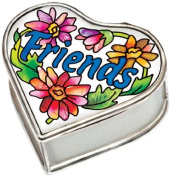 Amia Handpainted Glass Friends Hinged Jewellery Box, 6.4cm by 3.2cm by 6.4cm