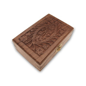 Hand Carving Wood Jewellery Box with Brass Corners from India