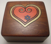 "Lined Heart Polish Wood Jewellery Keepsake Box ""Love me Tender"""