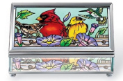 Amia 41050 Rectangular Bevelled 13cm Long Hand Painted Glass Jewellery Box, Multiple Birds on Rail Design, Medium