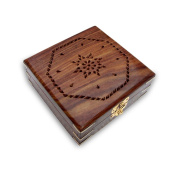 Hand made Square Cut Work Wooden Box with Brass Corners