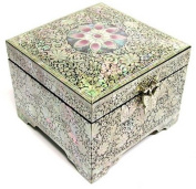 Silver J Wooden lacquer jewellery box with mirror, mother of pearl inlaid jewellery case, handmade gift