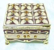 Welforth Fine Pewter Amber Floral Jewellery Footed Trinket Small Box