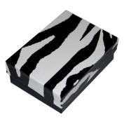 8.9cm x 8.9cm Jewellery Boxes, Cotton Filled, Zebra Design, 100 Pk
