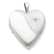 Sterling Silver 20mm with Diamond Star Satin/Polished Heart Locket