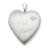 Sterling Silver 20mm Best Friend with Diamond Heart Locket