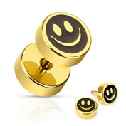 U2U Pair of Gold IP Over 316L Surgical Steel Smiley Face with Black Inlay Fake Plug