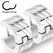 U2U Pair of 316L Surgical Stainless Steel Two Tone Hoop Earring with Zebra Stripes