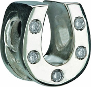 "Authentic Chamilia Horseshoe - Clear Cz Charm Bead Jb-30a ""Gift Boxed"""