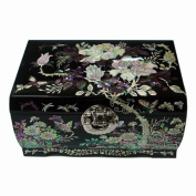 Mother of Pearl Flower Asian Lacquer Women Black Wooden Mirror Jewellery Trinket Keepsake Treasure Gift Girls Necklace Ring Embroidery Box Chest Case Organiser with Peony Design and Fish Lock Key