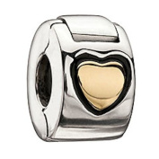 Authentic Chamilia 14k Gold and Silver Heart Lock Charm Bead Mc-10cm Gift Boxed""