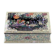 Mother of Pearl Wooden Desk Office Business Name Card Holder Case with Mandarin Ducks Design