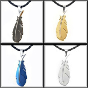 U2U Classic Stainless Steel the Feathers Combination of Four Colours Pendants Necklace with 6 Chains