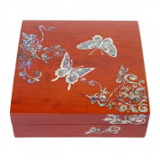Mother of Pearl Butterfly Asian Lacquer Women Black Small Wooden Mirror Travel Jewellery Trinket Keepsake Treasure Gift Girls Jewel Ring Box Chest Case Organiser