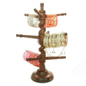 Beachcombers! Glass Bangle Tree Indian Stained Hand Carved Wood Glass Bangle Bracelet Jewellery Stand Display Holder Rack
