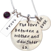 Hand stamped necklace - The Love Between a Mother and a Daughter is Forever Necklace - Mommy Necklace - Tag Name