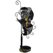 Mardi Gras Mask Earrings & Ring Holder Gold 43cm H