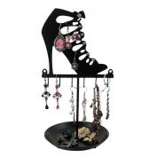 Stiletto Cage Strap Boot Metal Jewellery Tree Stand, Black