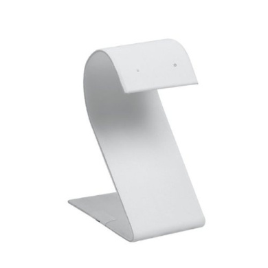 """White Faux Leather """"S"""" Earring Stand 3.25H Jewellery Holder Stand"""