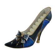 Glittering Ribbon Bow Ring Holder Shoe Sequined Blue